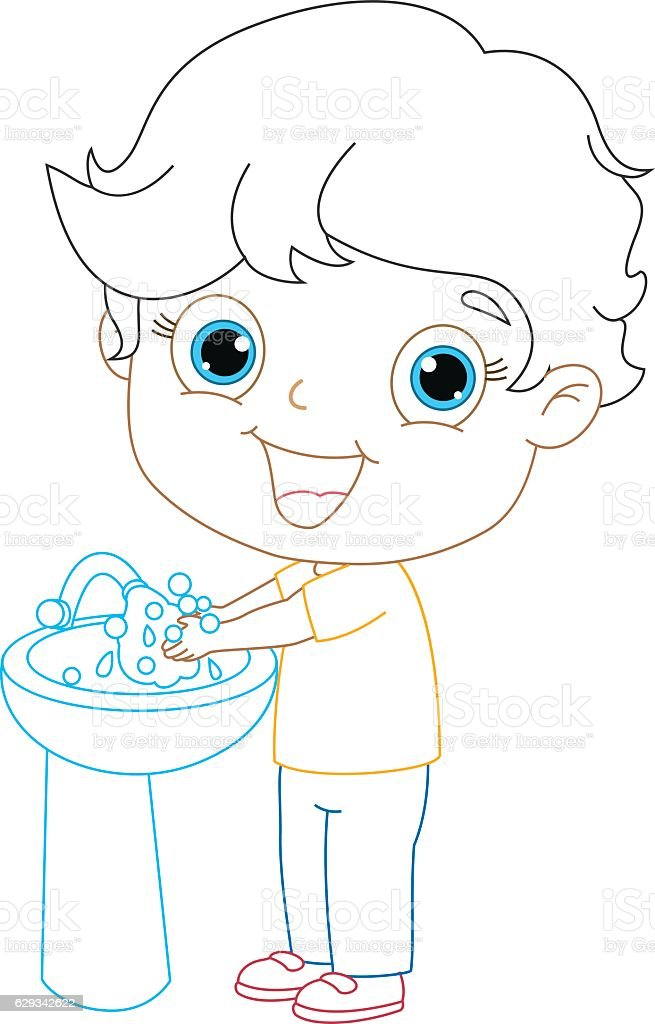 Kid Washing Hands Coloring Page Illustration Royalty Free