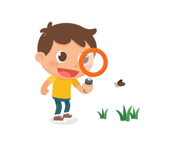A kid with a magnifying glass. Flat character design. A kid with a magnifying glass. Flat character design. exploration stock illustrations