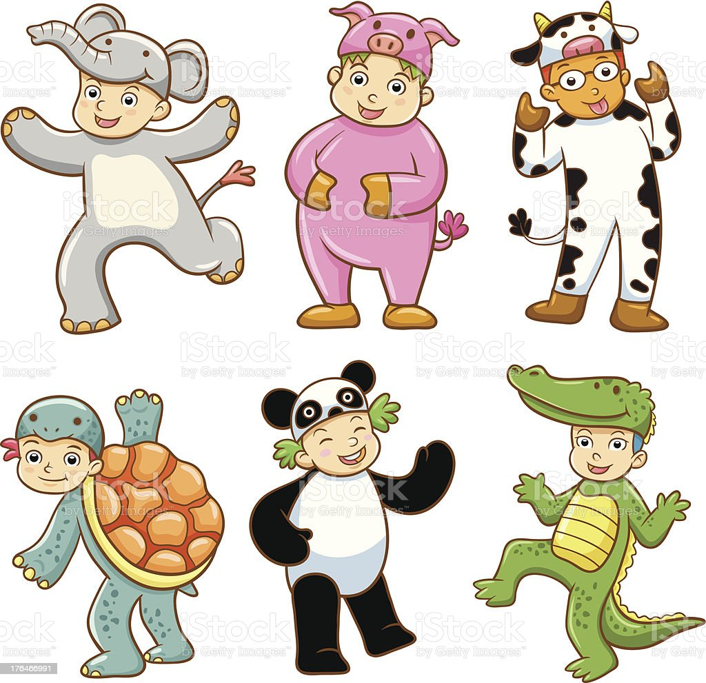 Kid with animals costume. royalty-free stock vector art