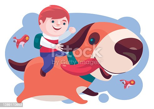 istock kid with big dog and birds 1289170953