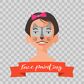 Kid with cat face painting vector illustration