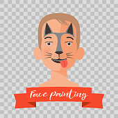 Kid with dog face painting vector illustrations