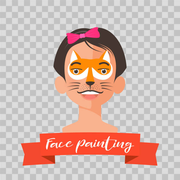 kind mit fox kinderschminken vektor-illustrationen - kindergesichtsfarben stock-grafiken, -clipart, -cartoons und -symbole