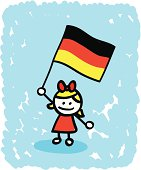 Kid with Germany  flag cartoon