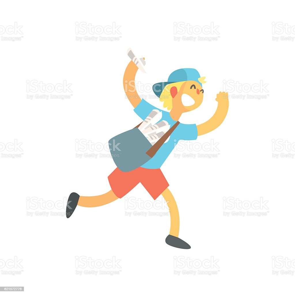 Kid With Handbag Running Delivering Newspapers kid with handbag running delivering newspapers – cliparts vectoriels et plus d'images de adulte libre de droits