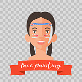 Kid with Indian face painting vector illustrations