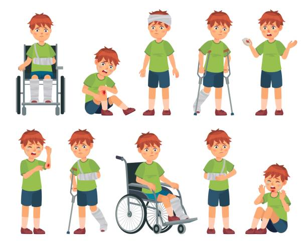 Kid with injury. Boy bruised hand, broke leg and arm. Injuries head, sport injuries and wheelchair vector cartoon illustration set vector art illustration