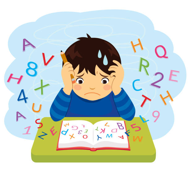 Kid with learning difficulties Confused kid looking at letters and numbers flying out of a book learning difficulty stock illustrations