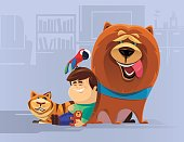 vector illustration of kid with pets