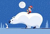 vector illustration of kid with polar bear meeting rabbit