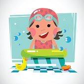 Kid with pool and toy ducks - vector