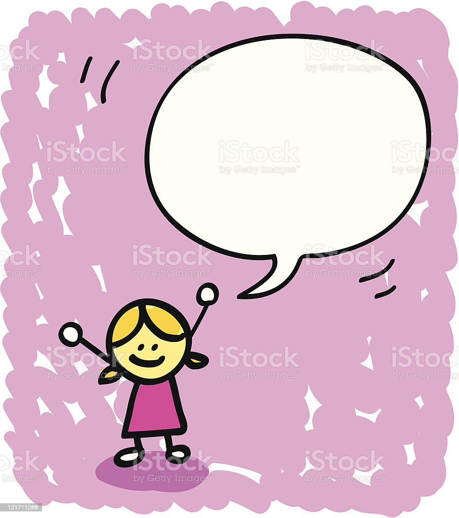 kid with speech bubble cartoon royalty-free stock vector art