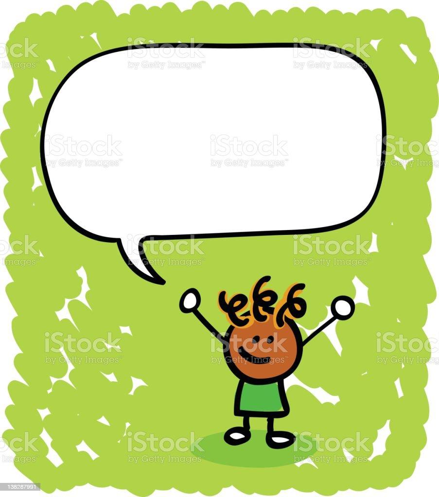 kid with speech bubble cartoon royalty-free stock vector art