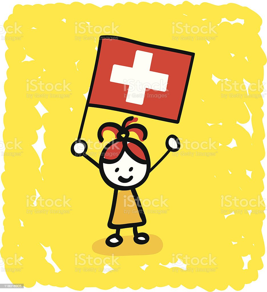 kid with Switzerland  flag cartoon royalty-free kid with switzerland flag cartoon stock vector art & more images of boys