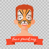 Kid with tiger face painting vector illustrations