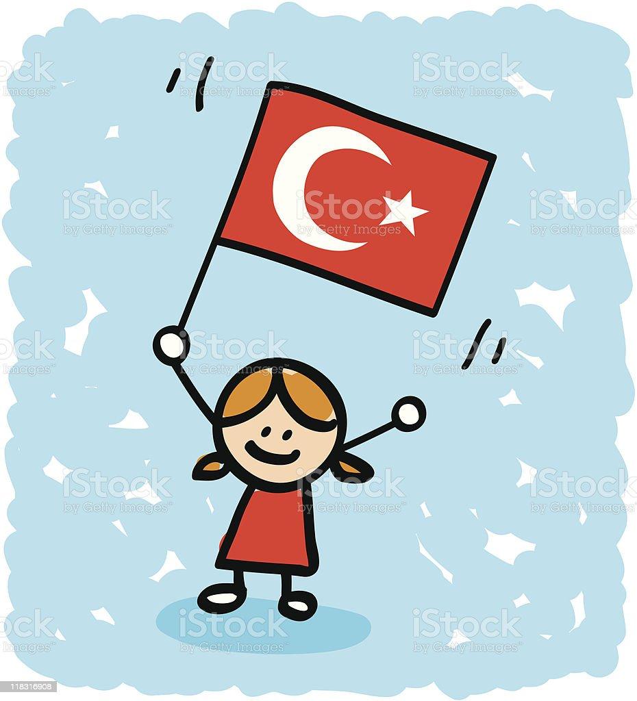 kid with Turkey  flag cartoon royalty-free stock vector art