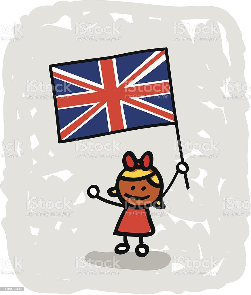 Ilustración de Niño De Historieta Con La Bandera De Reino Unido y ...