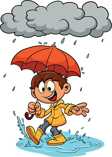 kid with umbrella. - kids playing in rain stock illustrations, clip art, cartoons, & icons