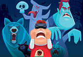 vector illustration of happy kid with VR goggles watching ghost and monster