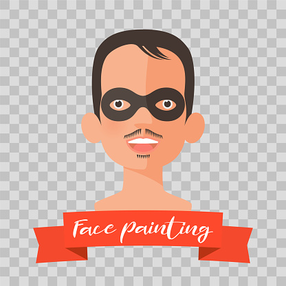 Kid with Zorro face painting vector illustrations