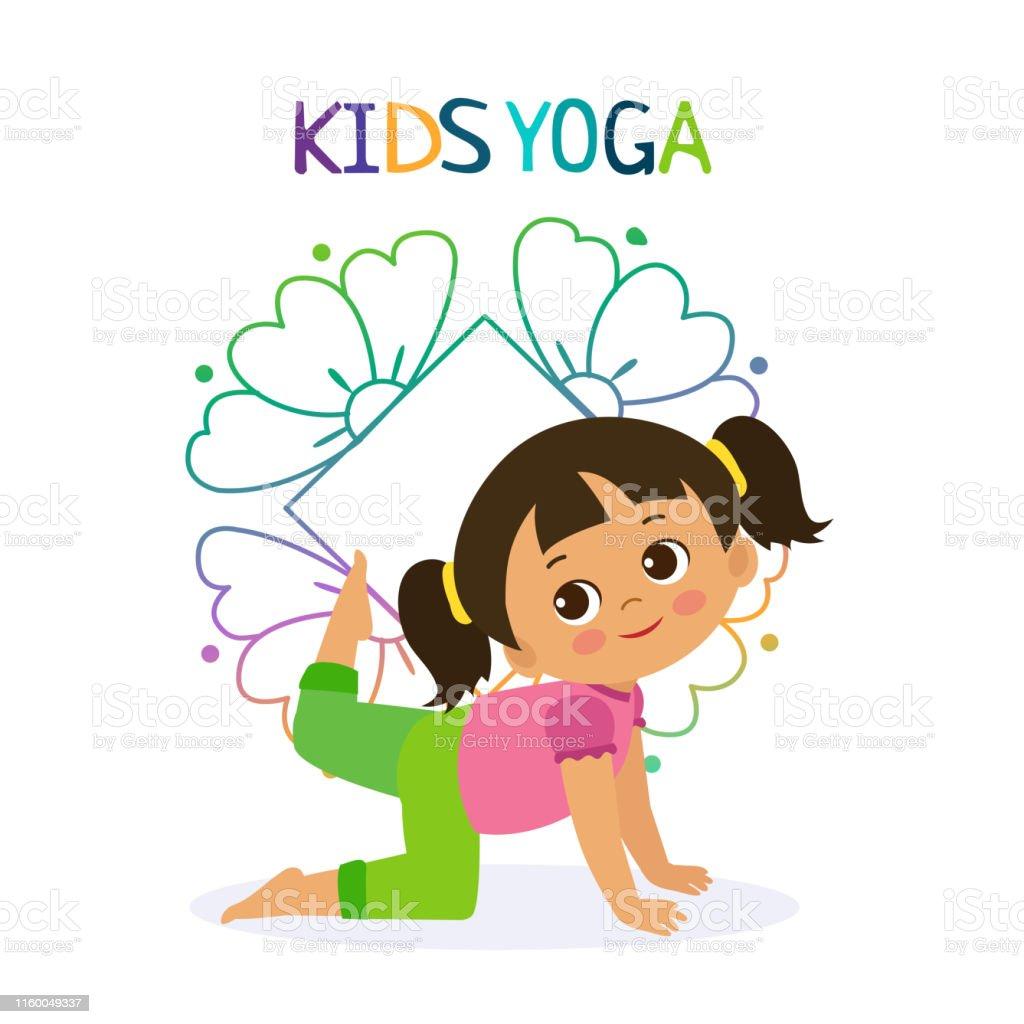 Kid Yoga Design Concept Girl In Yoga Position Vector Illustration Stock Illustration Download Image Now Istock