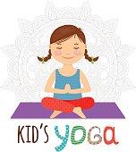 Yoga Poses For Kid Vector Illustration Monochrome Logo