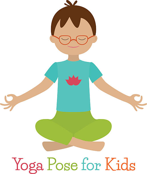 Kid Yoga Pose Vector Art Illustration