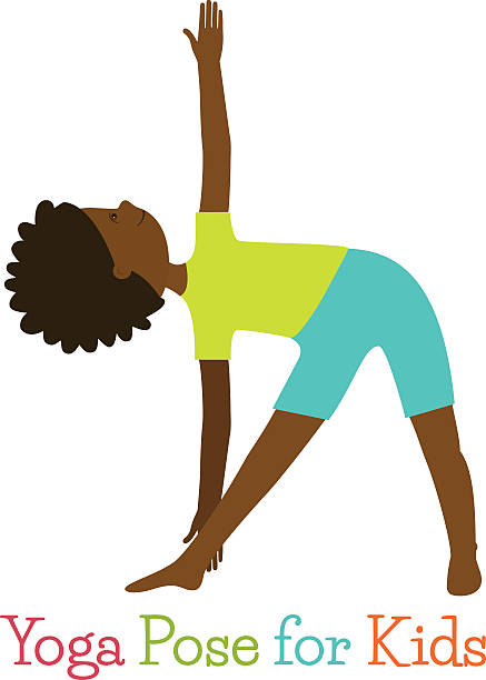Kid Yoga Pose Vector Art Illustration