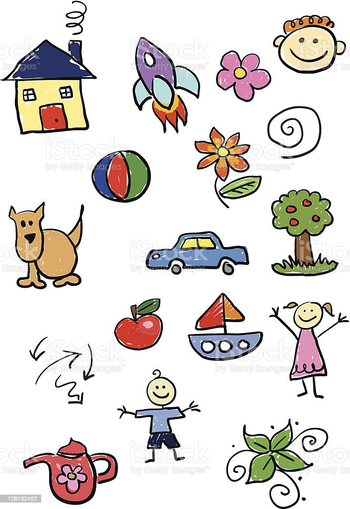 Kiddie doodles royalty-free stock vector art
