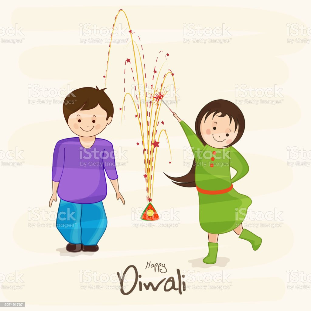 Kiddish Greeting Card Design For Happy Diwali Celebrations In India