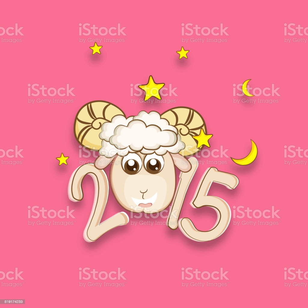 Kiddish Greeting For Year Of The Sheep 2015 Celebrations Stock