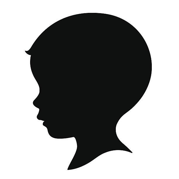 kid,head,silhouette kid,head,silhouette baby boys stock illustrations