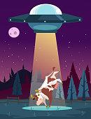UFO kidnaps cow character. Vector cartoon illustration
