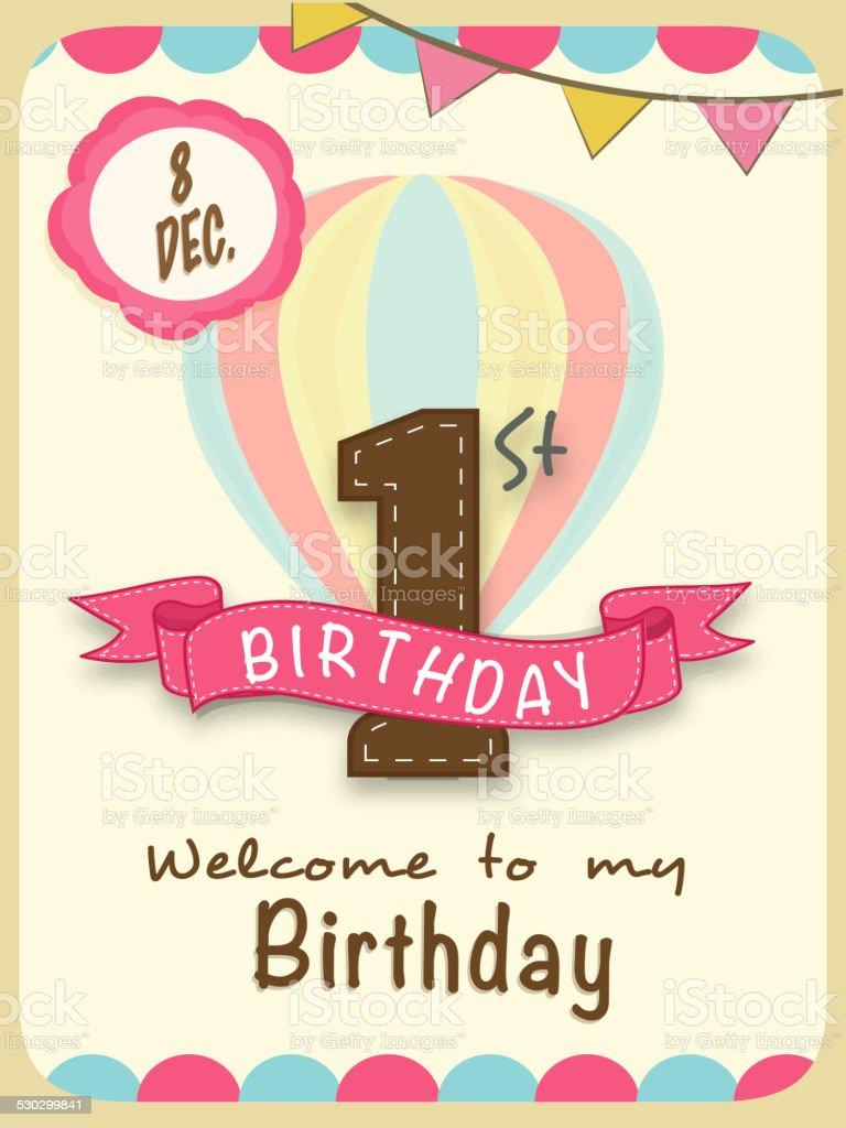 Kids 1st Birthday Celebration Invitation Card Design Stock Vector ...