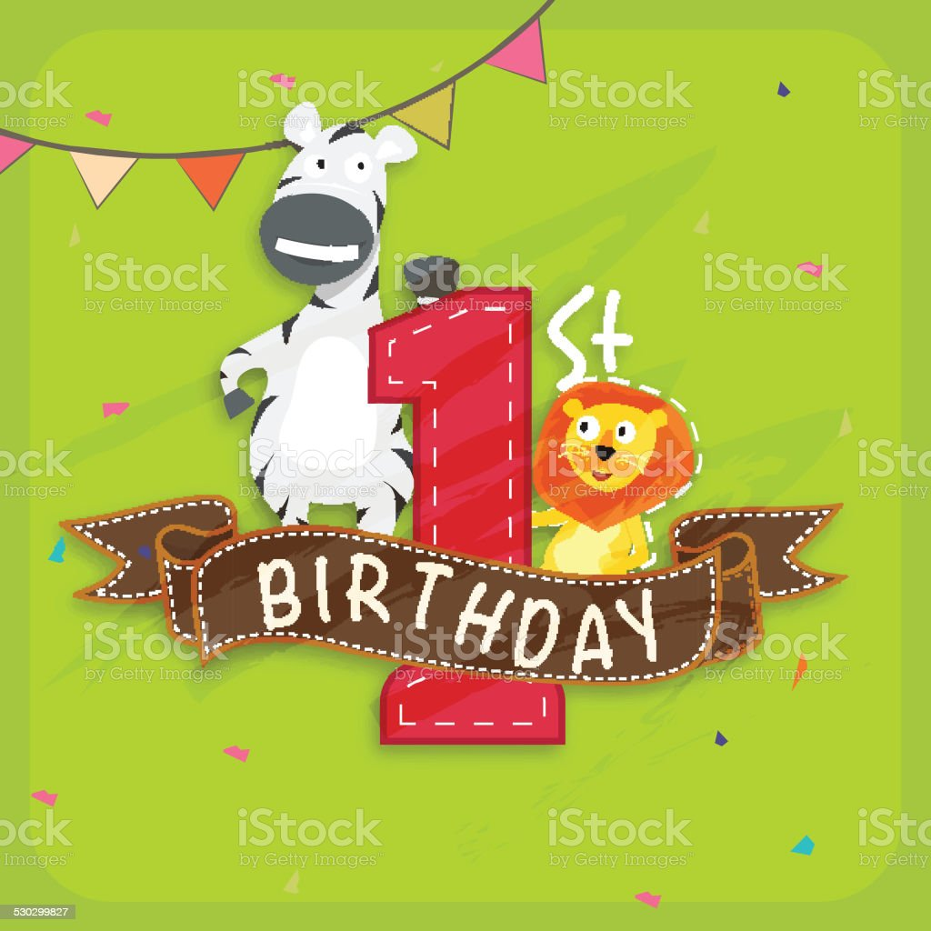 Kids 1st Birthday Invitation Card Stock Illustration