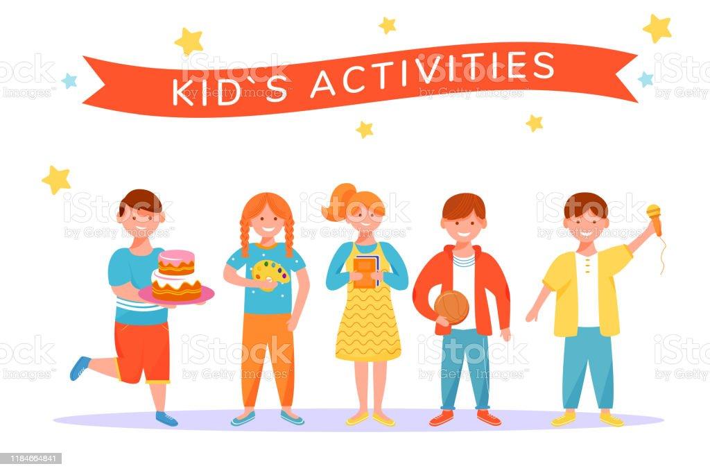 Super Kinderen Activiteiten Platte Vector Illustratie Entertainment Voor HC-44