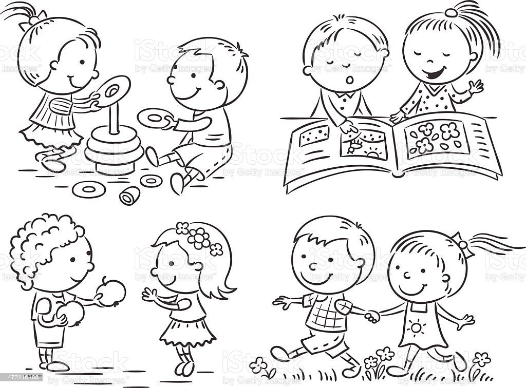 Kids Sharing Clipart Black And White Kids Activities...