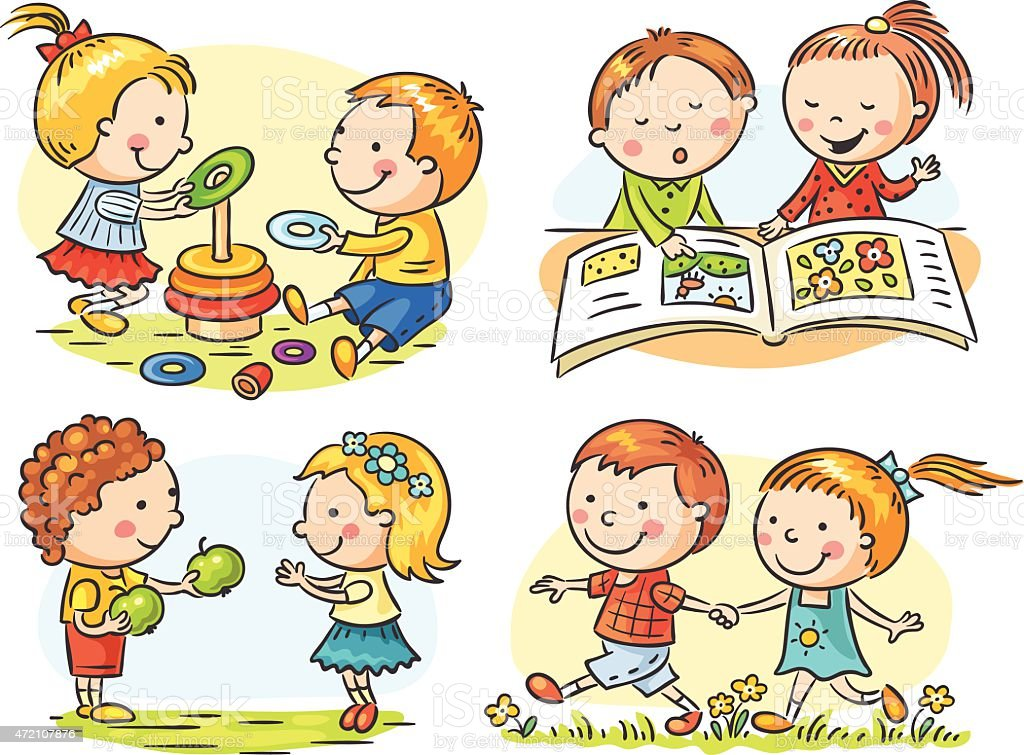 Kids' Activities Set vector art illustration