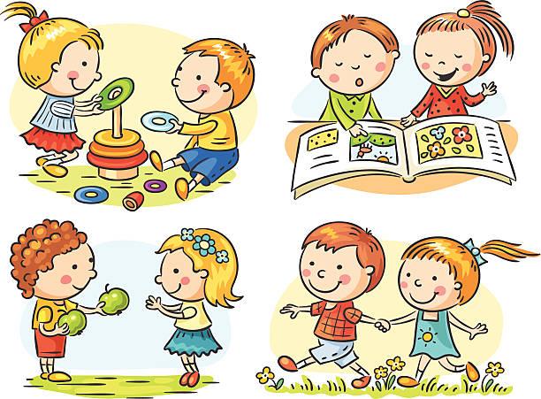 Best Children Sharing Illustrations, Royalty-Free Vector ...