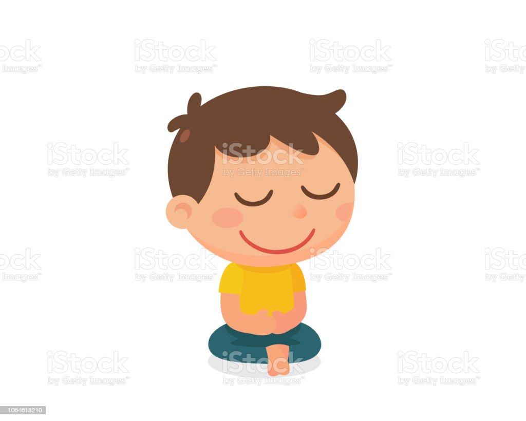 A Kids Activity Meditation Flat Character Design Stock