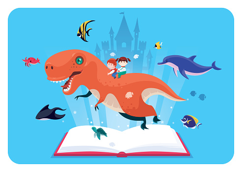 kids adventure with book dinosaur sea creatures