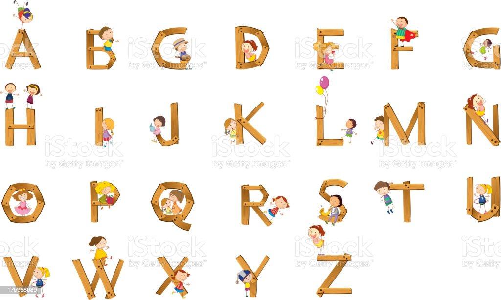 Kids alphabet royalty-free stock vector art