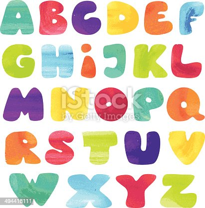 Kids alphabet in watercolor style. Each letter is placed on its separate layer for easy handling.