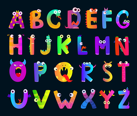 Kids alphabet with funny monster letters. Vector cute characters