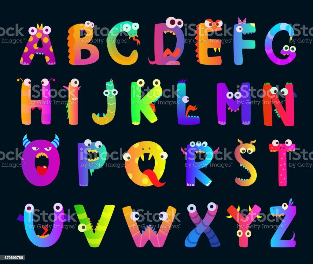 Alphabet d'enfants avec les lettres de la drôle de monstre. Mignons personnages Vector - Illustration vectorielle
