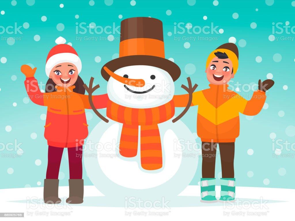 Kids and a snowman. Winter children's fun. Vector illustration in cartoon style vector art illustration