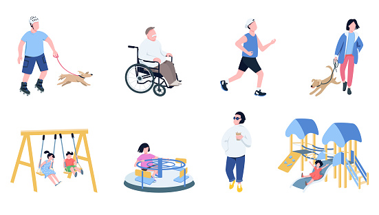 Kids and adults leisure time flat color vector faceless characters set. Men jogging, playing with pets, drink takeaway coffee, children on playground isolated cartoon illustrations on white background