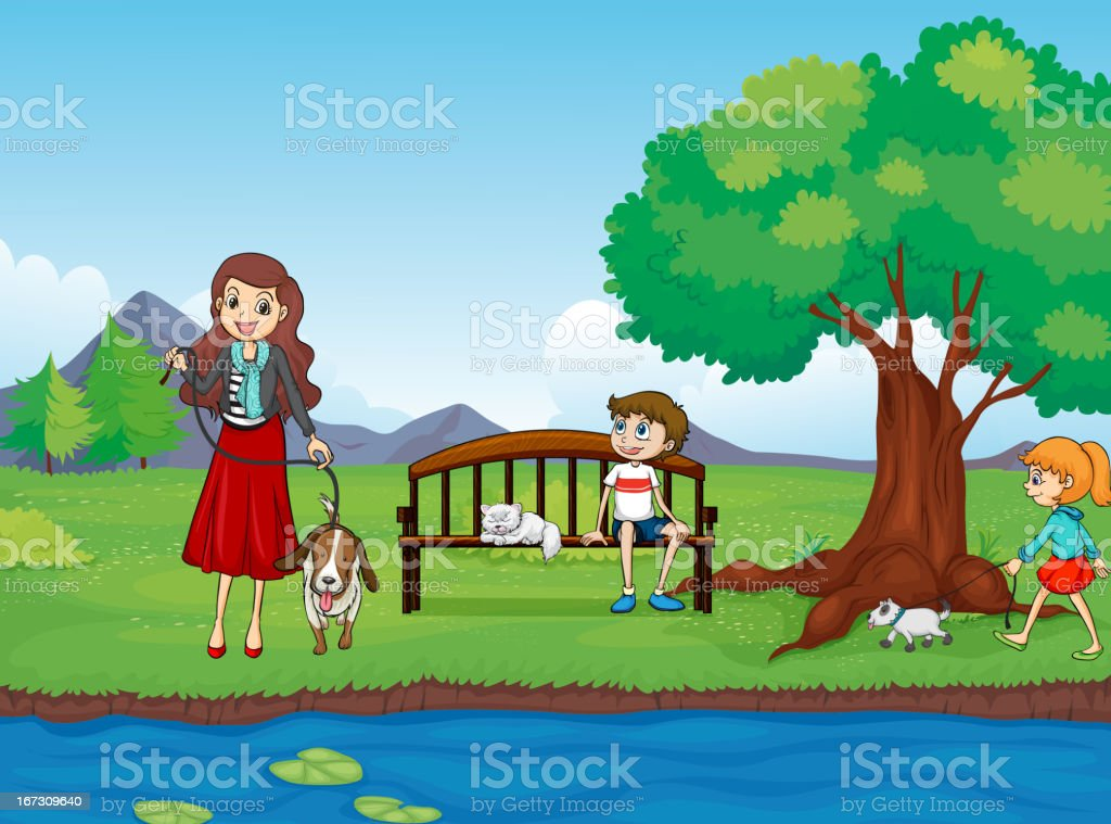 Kids and animals royalty-free stock vector art