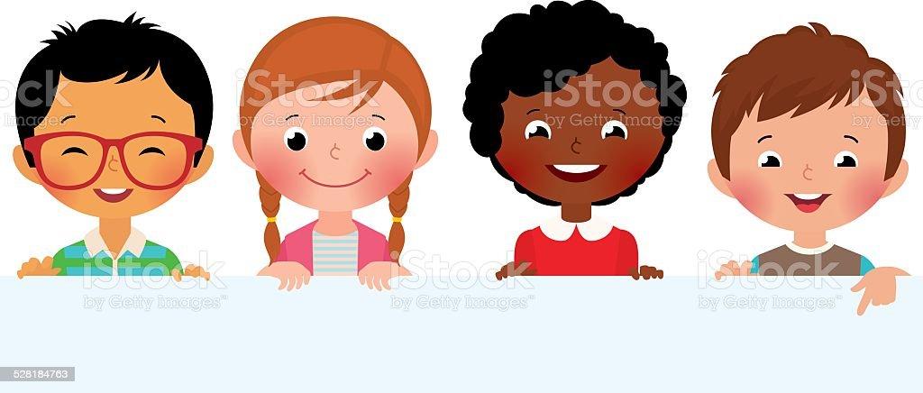 Kids and banner vector art illustration