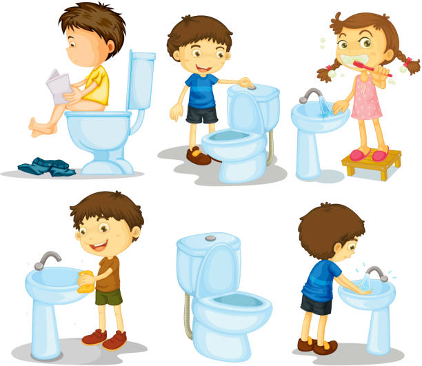 Kids and bathroom accessories Kids and bathroom accessories on a white background flushing toilet stock illustrations
